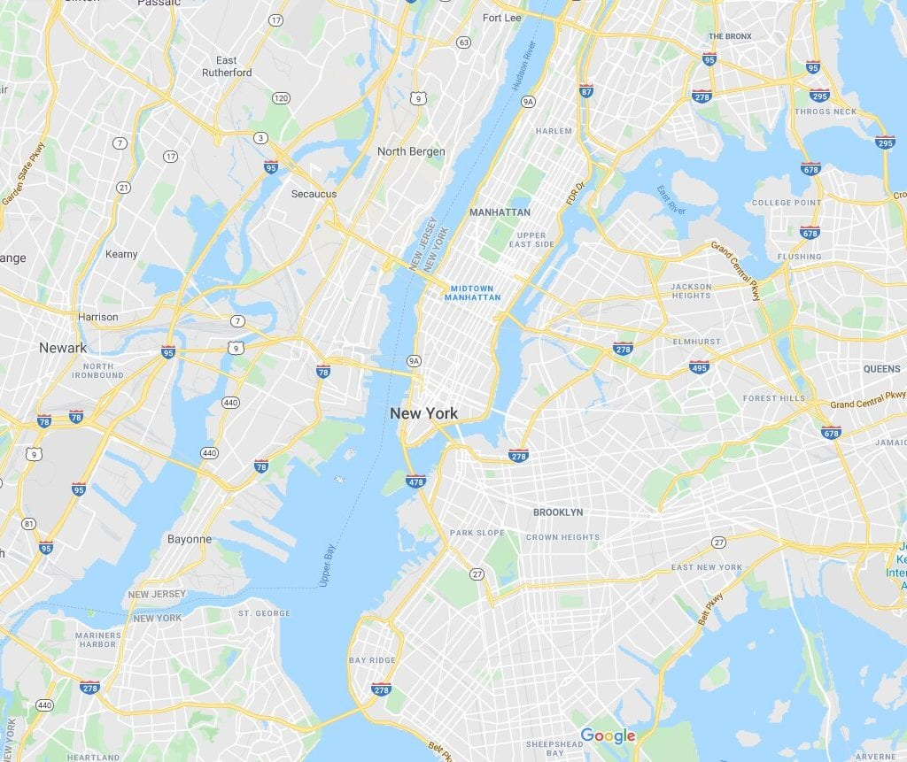 google maps view of nyc