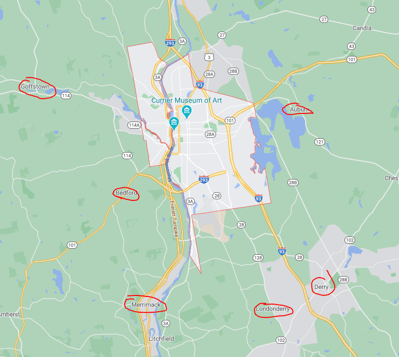 surrounding area of manchester nh highlighting goffstown, bedford, Merrimack, londonderry, derry and auburn