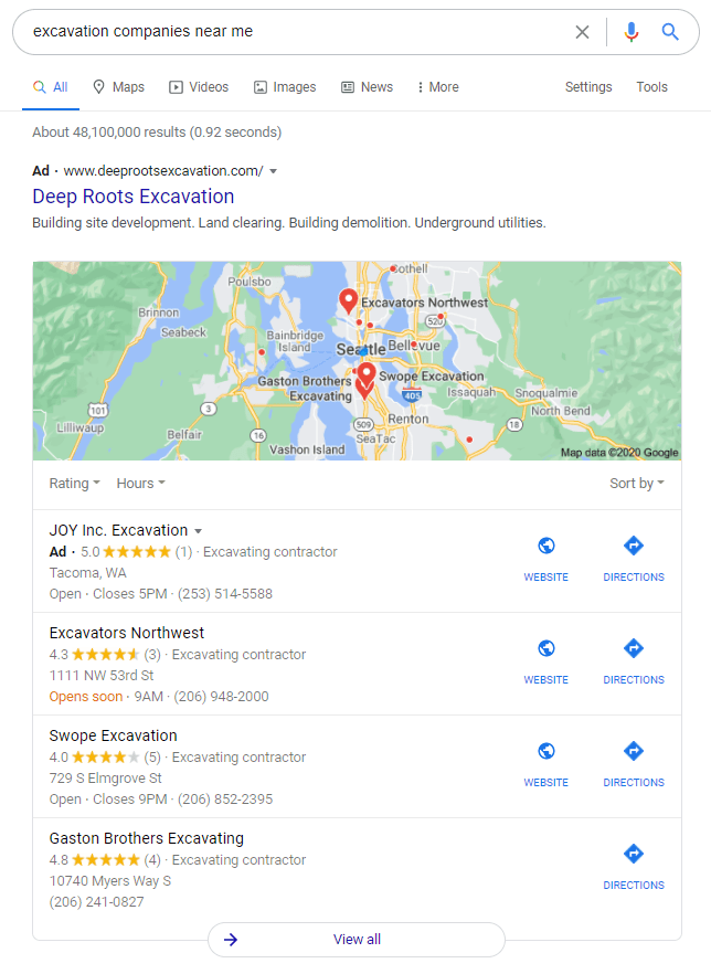 search results for excavation companies near me in seattle, wa