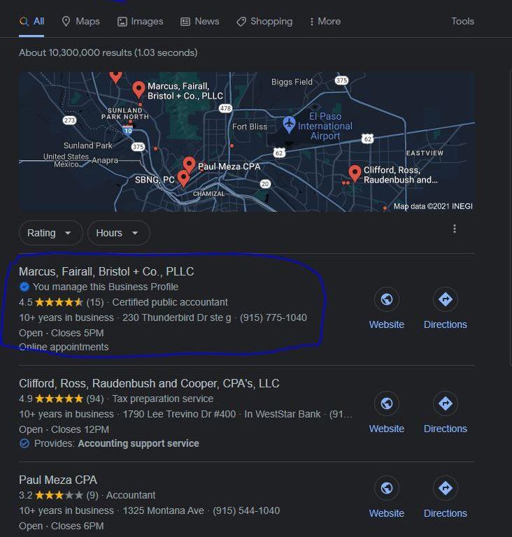cpa_el_paso_tx google map